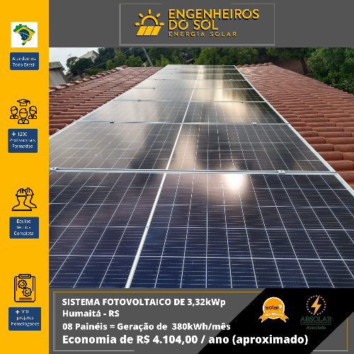 Projeto Energia Solar - Sistema Fotovoltaico de 08 placas - Humaitá - RS